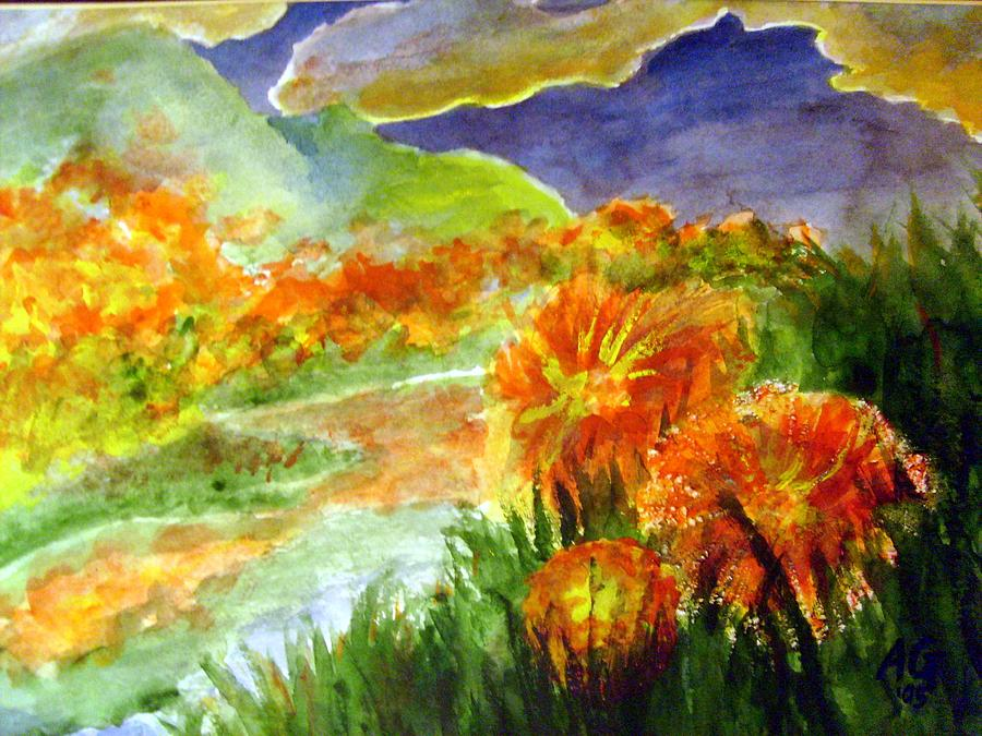 Landscape Painting - Flowers On The Mountain by Andrew Gillette