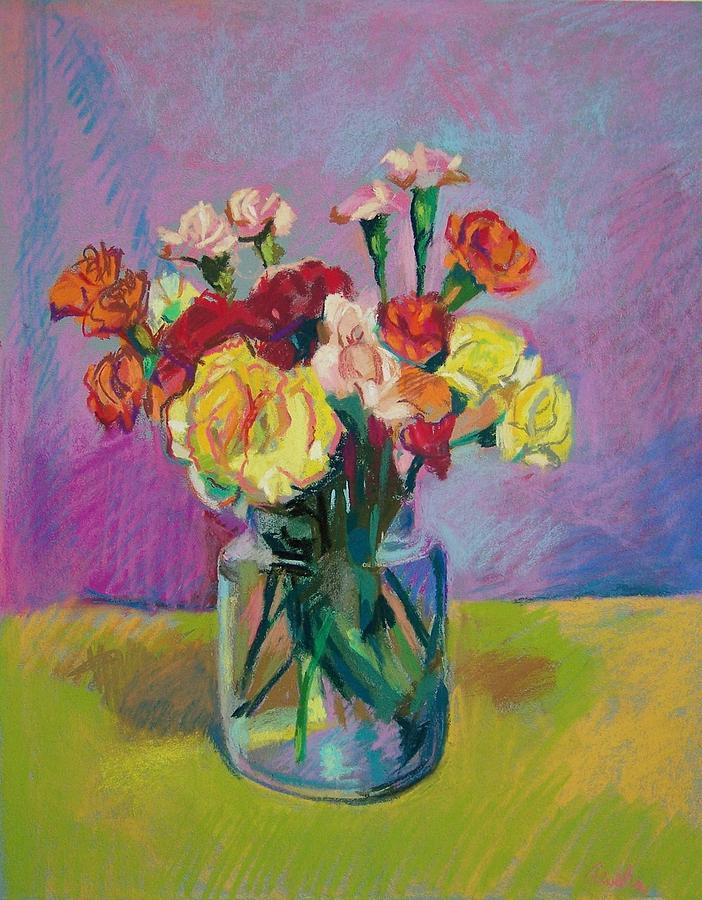 Flowers Pastel - Pickle Jar Of Flowers by Aletha Kuschan