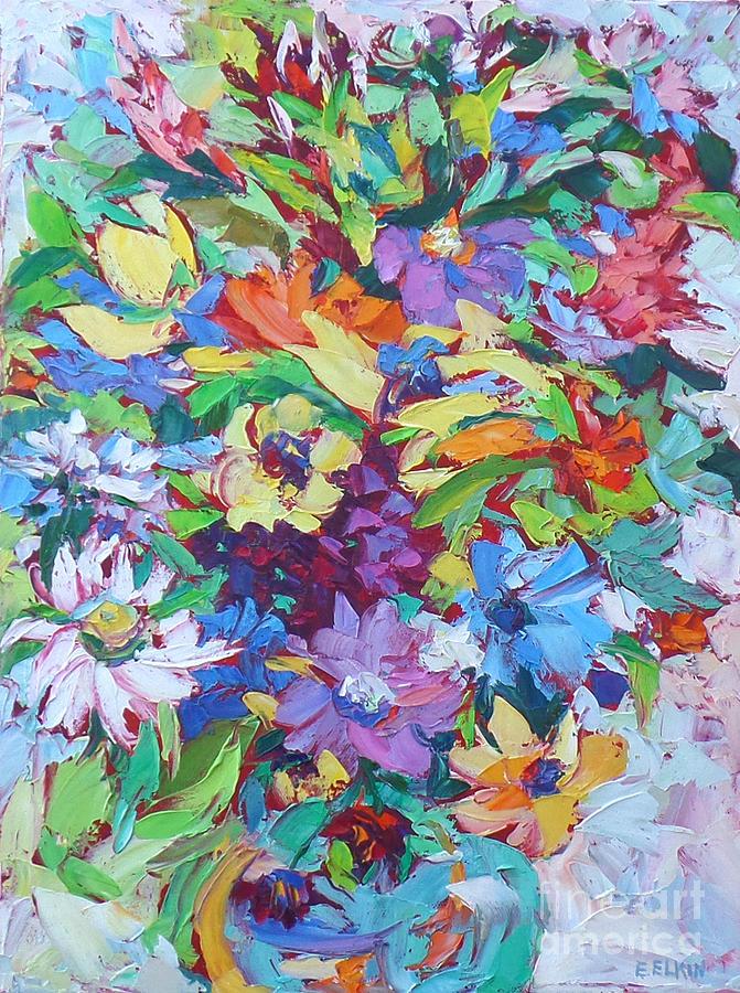 Bouquet Of Flowers Painting - Flowers Splash by Elizabeth Elkin