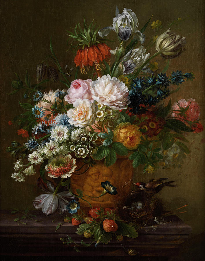 Fruits Painting - Flowers Still Life by Willem van Leen