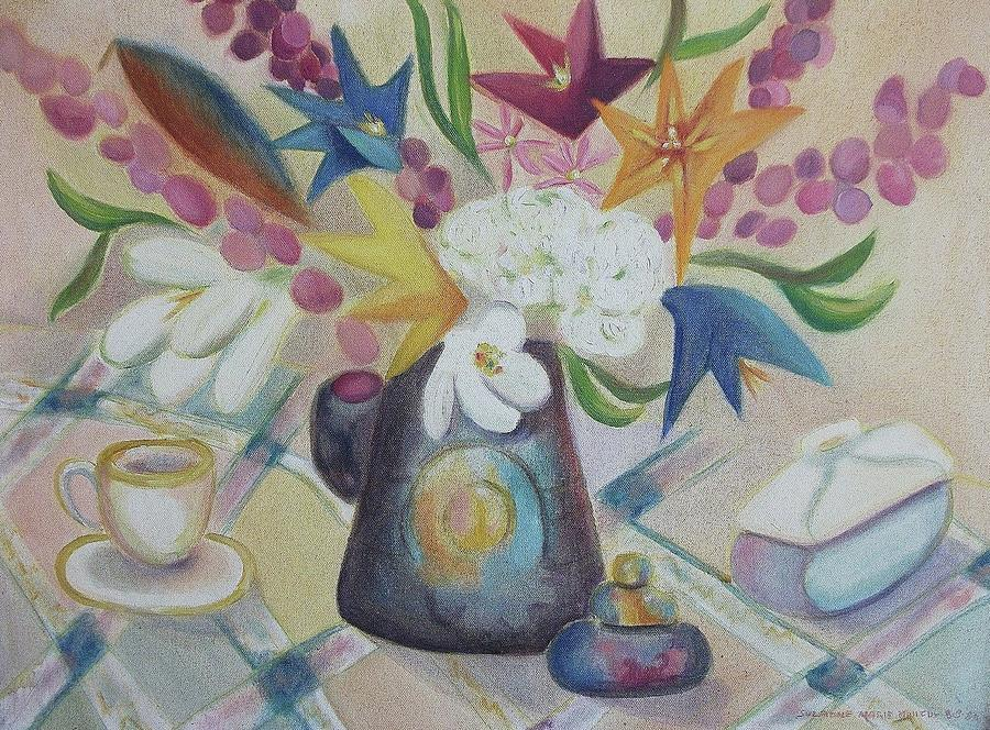 Still Life Painting - flowers Tin Vase and Tea Cup  by Suzanne  Marie Leclair