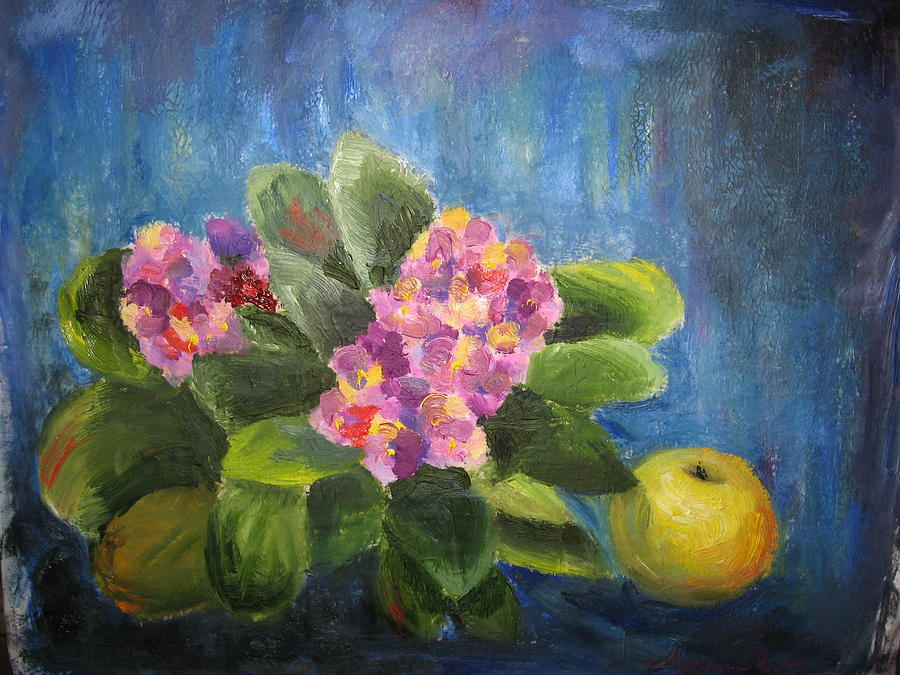 Flowers With Apple Painting by Maria Mikulich