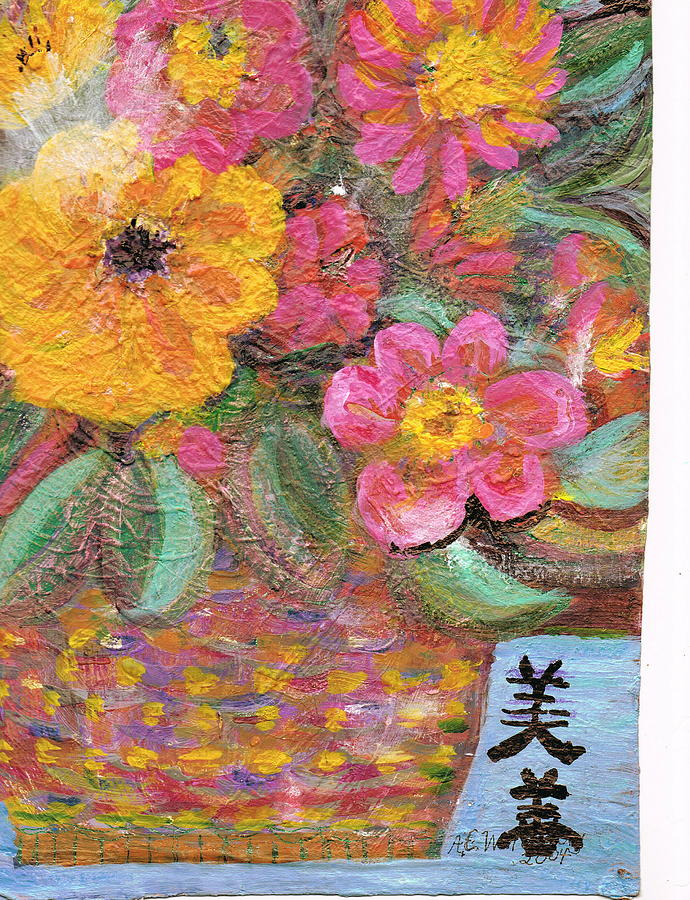 Flowers With Chinese Symbols For Beauty Painting By Anne Elizabeth