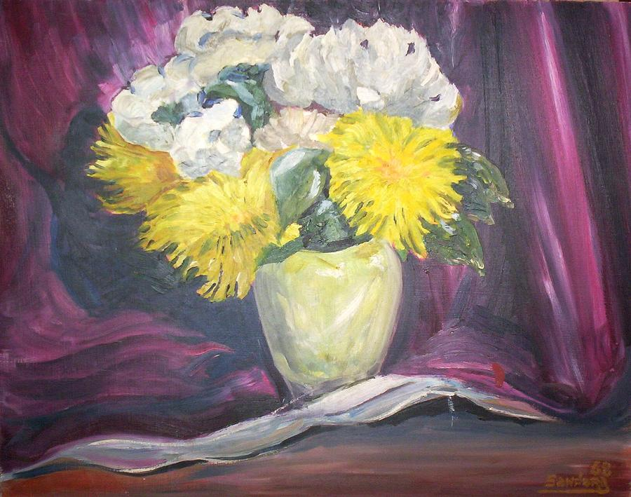 Flowers With Red Background Painting by Joseph Sandora Jr