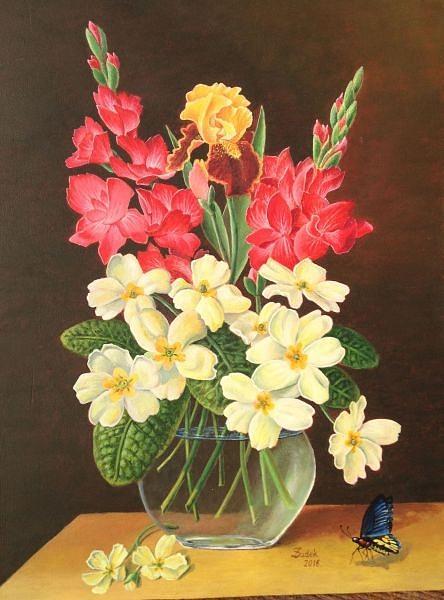 Acrylic Painting - Flowers by Zdzislaw Dudek