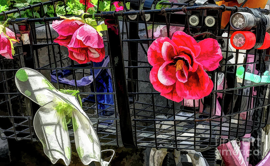 Flowery Bike Basket Photograph