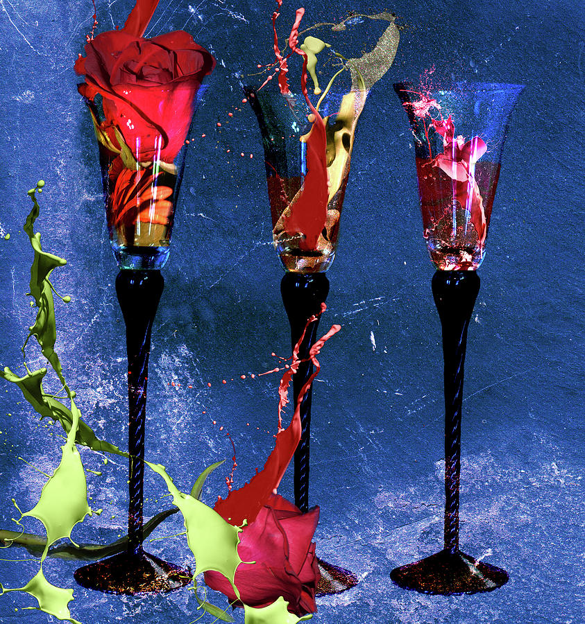Cocktails Digital Art - Flowery Cocktails by M Montoya Alicea