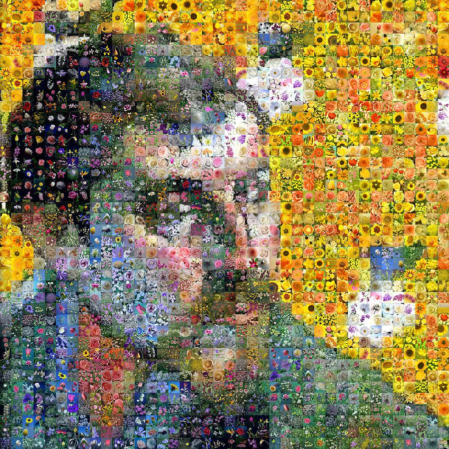 Mosaic Digital Art - Flowery Gauguin Self Portrait by Gilberto Viciedo
