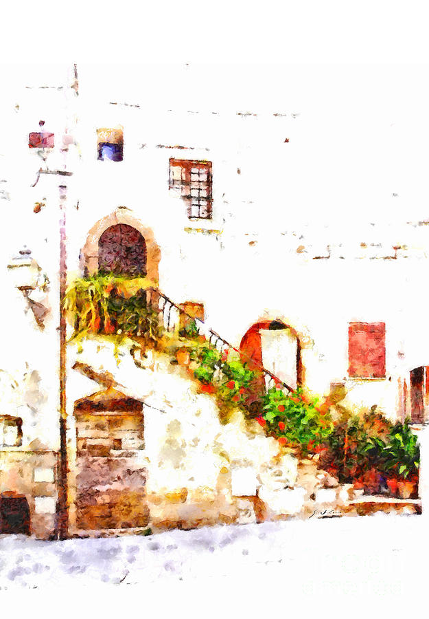 Flower Pots Painting - Flowery Staircase by Giuseppe Cocco
