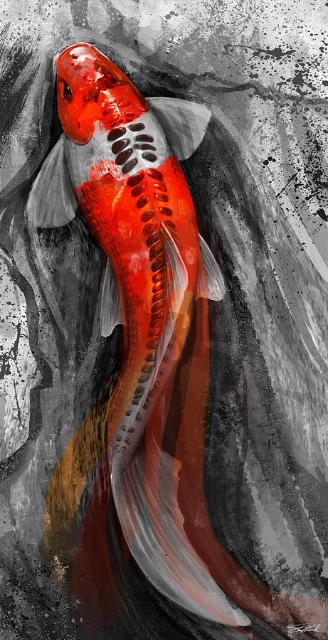 Abstract Digital Art - Flowing Koi by Steve Goad
