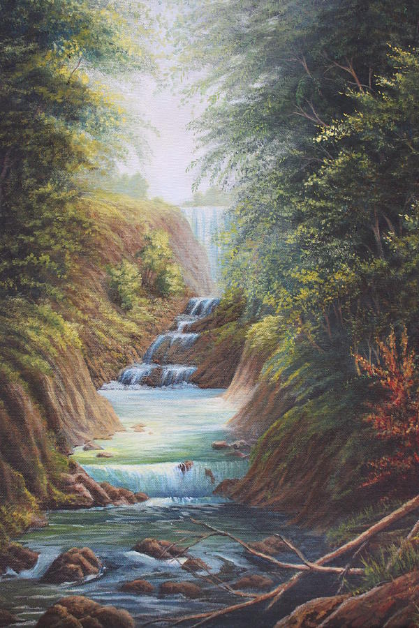 River Painting - Flowing River by Diana Miller