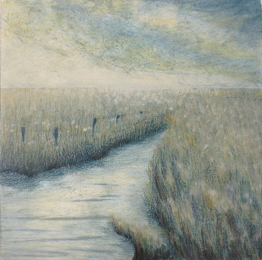 Landscape Painting - Flowing to the sea by Lisa Le Quelenec