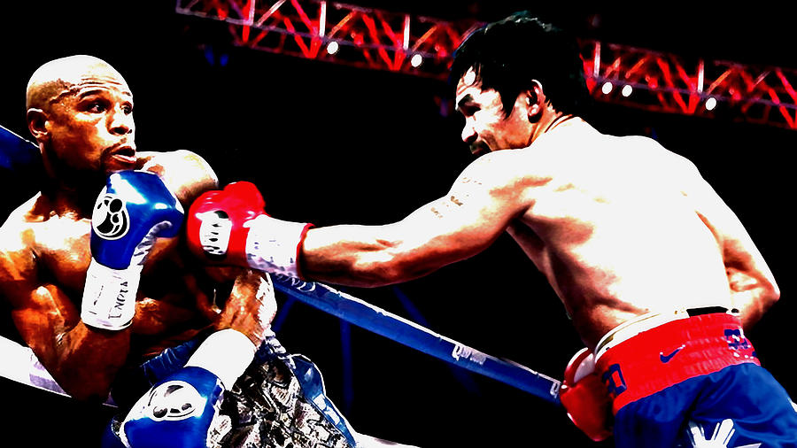 Manny Pacquiao Mixed Media - Floyd Mayweather And Manny Pacquiao Going At It by Brian Reaves
