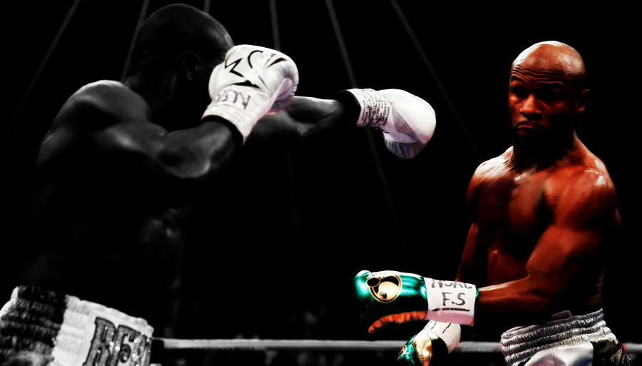 Mayweather Mixed Media - Floyd Mayweather Making Them Miss by Brian Reaves