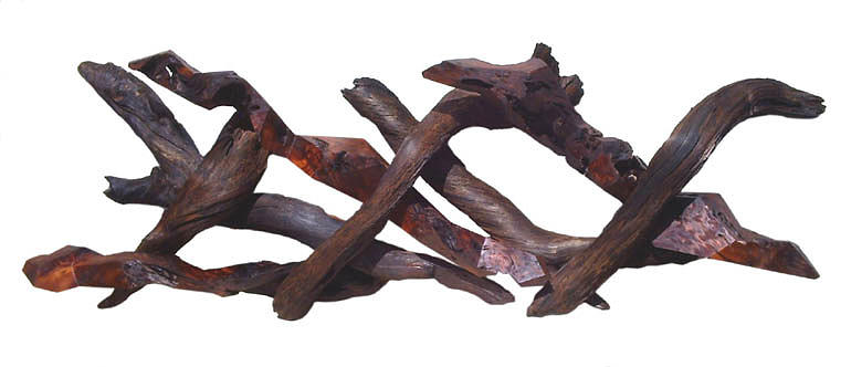 Wall Hangings Sculpture - Fluctuating Lizards - Abstract Redwood Wall  by Daryl Stokes