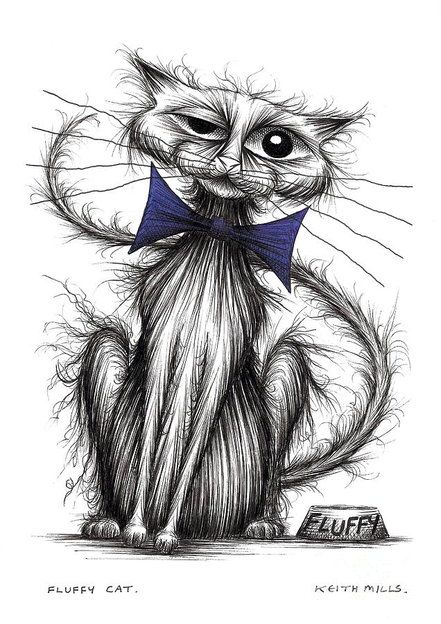Fluffy Cat Drawing By Keith Mills