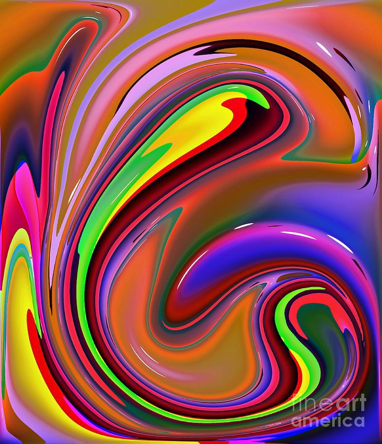 Abstract Digital Art - Fluid Colour by Robert Burns
