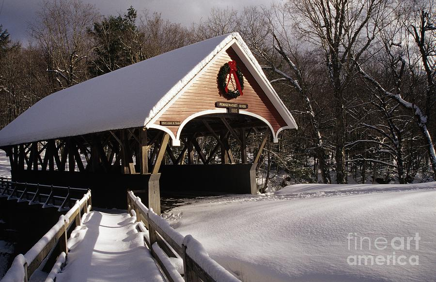 Franconia Notch State Park Photograph - Flume Covered Bridge - Lincoln New Hampshire Usa by Erin Paul Donovan