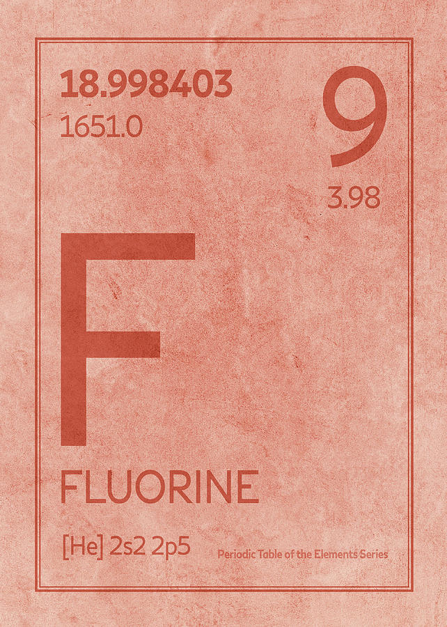 Fluorine Element Symbol Periodic Table Series 009 Mixed Media By