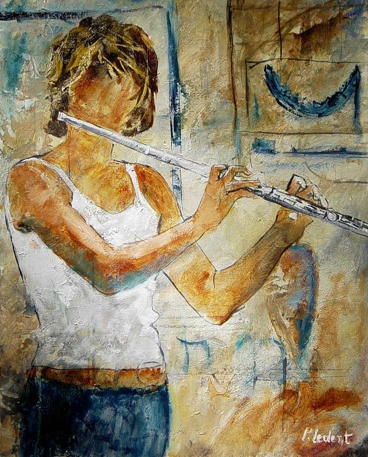 Music Painting - Flutist by Pol Ledent