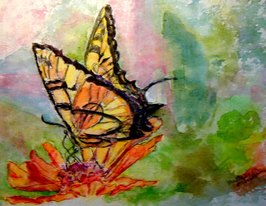 Butterfly Painting - Flutterby - Watercolor by Donna Hanna