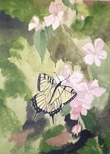 Botanical Painting - Flutterfly Dreams  Original by Christine Ward