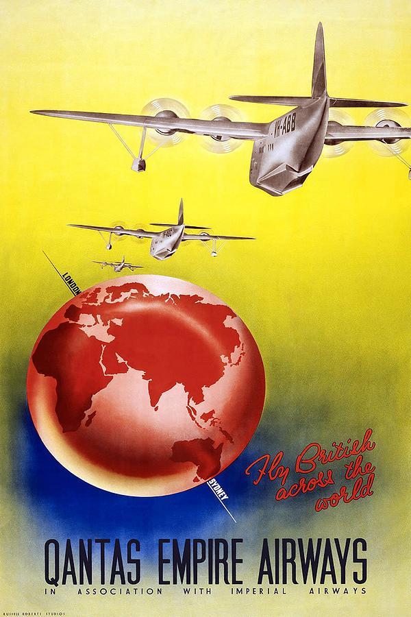 Fly British Across The World - Qantas Empire Airways - Retro Travel Poster - Vintage Poster Mixed Media
