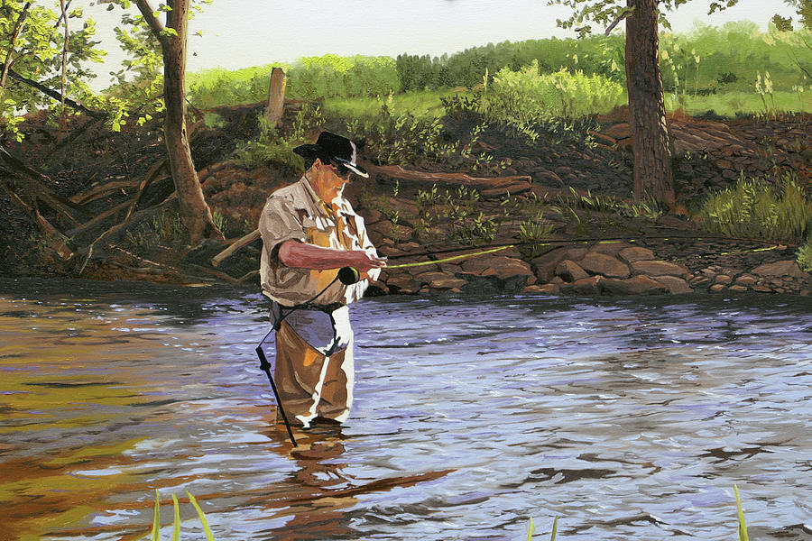 Fisherman Painting - Fly Fisherman by Kenneth Young
