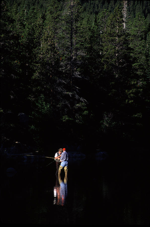 Fly Fisherman Sprauge Lake CO  by Harold Stinnette