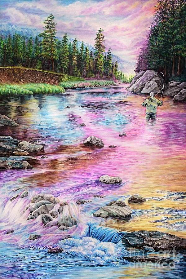 Fly Fishing Painting - Fly Fishing in river at sunrise by Anne Koivumaki - Fine Art Anne
