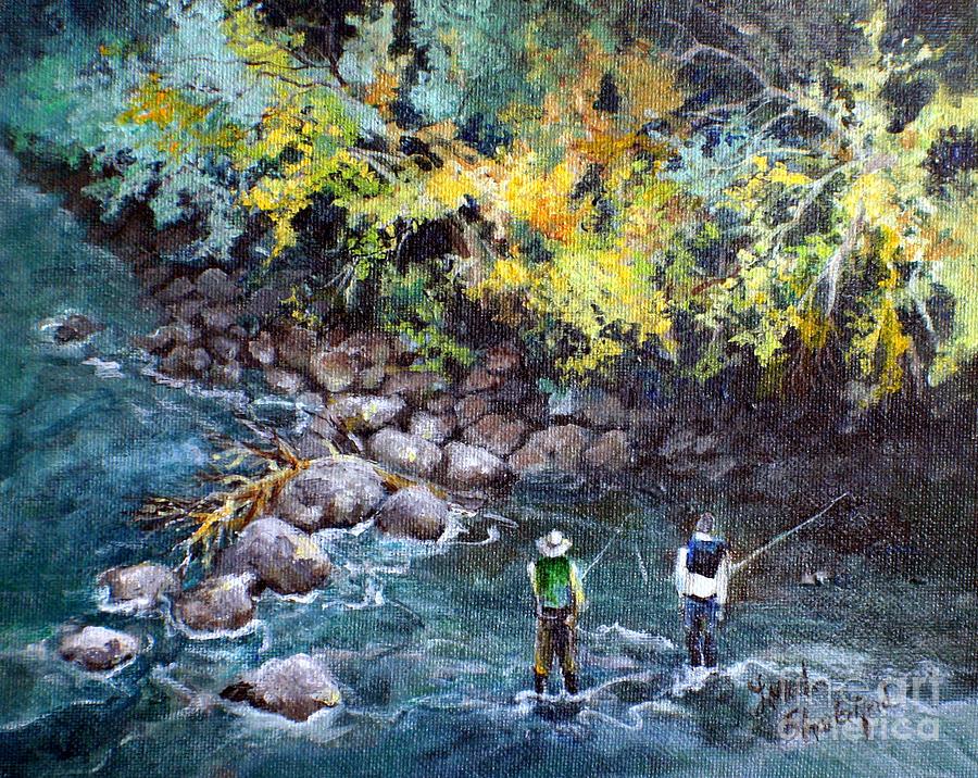Fishing Painting - Fly Fishing by Linda Shackelford