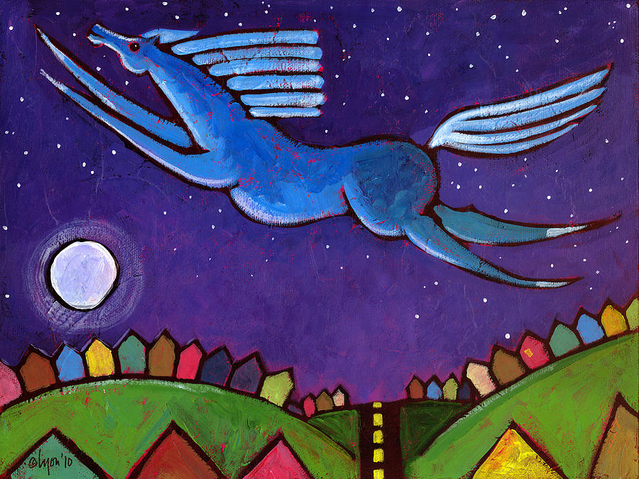 Night Painting - Fly Free From Normal by Angela Treat Lyon
