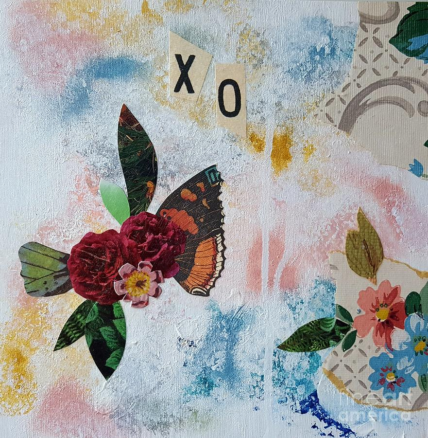 Abstract Collage Painting - Fly by Laura Miller