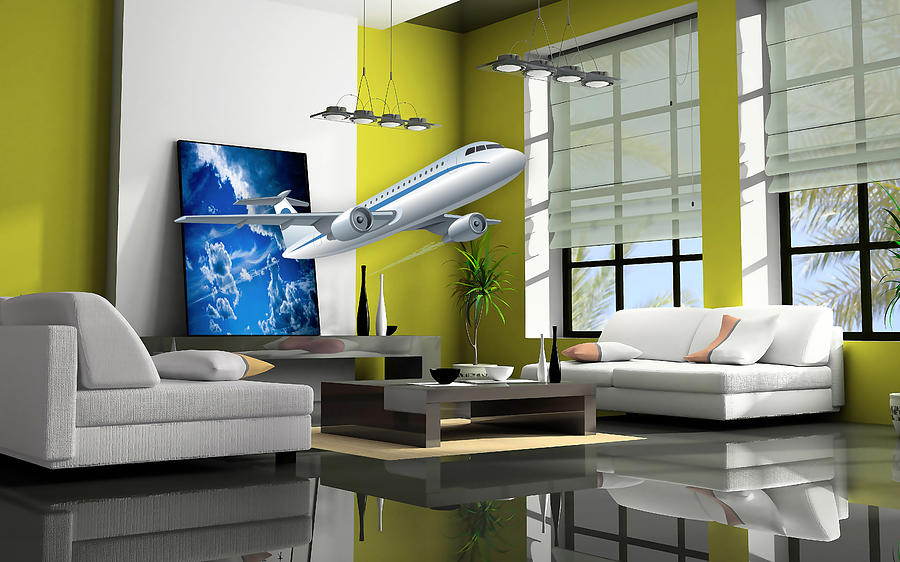 Airplane Mixed Media - Fly The Friendly Skies Art by Marvin Blaine