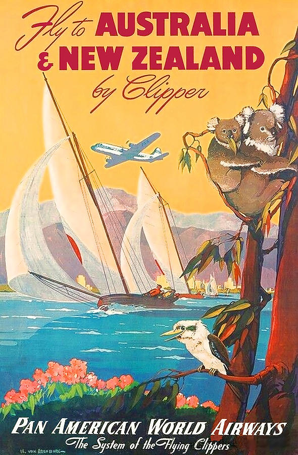 Fly Painting - Fly To Australia And New Zealand, Airline Poster by Long Shot