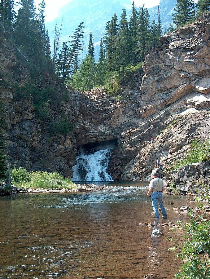Flyfishing Photograph - Flyfishing At Trick Falls In Glacier National Park by Denise   Hoff