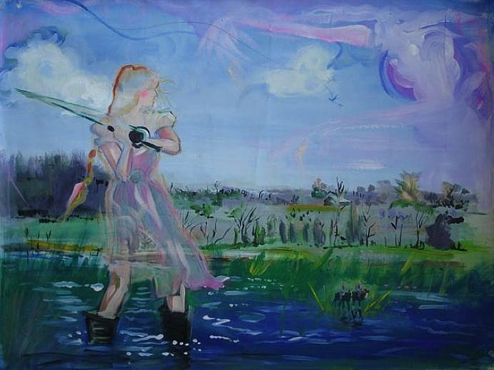 Flyfishing Painting - Flyfishing by Phoebe Legere