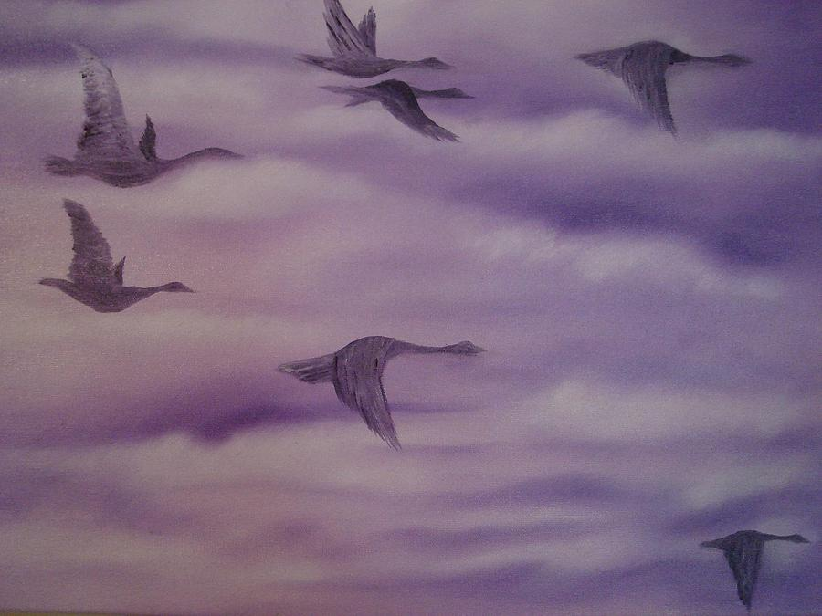 Flying Birds Painting by Modern Palette Art
