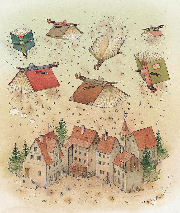 Flying Books Painting by Kestutis Kasparavicius