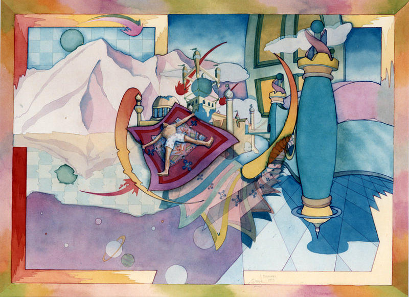 Psychedelic Paintings Painting - Flying Carpet by Henry Orszula