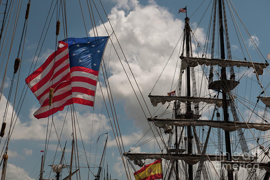 Tall Ship Photograph - Flying Colors by Dale Powell