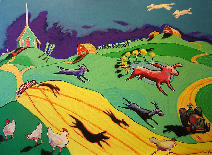 Story Landscape Dogs Painting - Flying Dog Farm by Robert Tarr