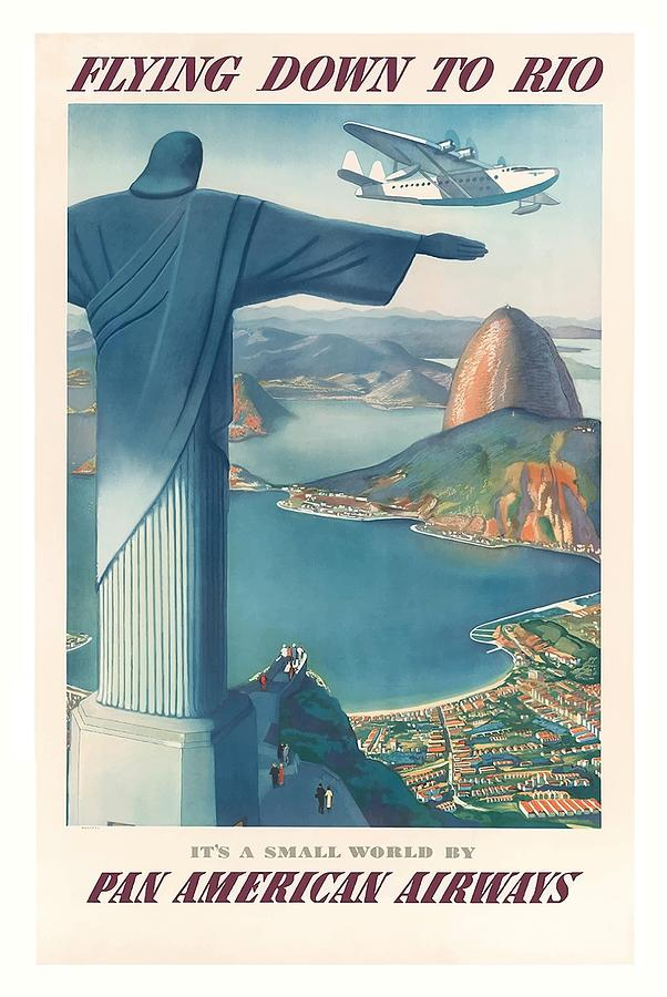 Flying Digital Art - Flying Down To Rio Brazil Christ The Redeemer Statue Vintage Travel Poster by Retro Graphics