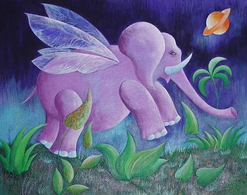 Flying Elephant Painting by Irena Shklover