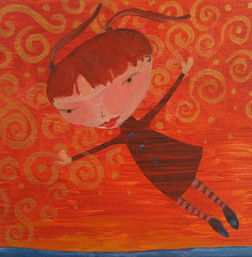 Flying Witch Painting - Flying Fredericka by Dawn Vagts