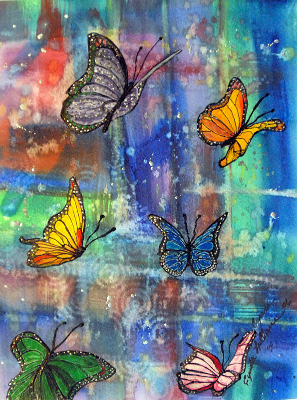 Butterflies Painting - Flying Free by Cynda LuClaire