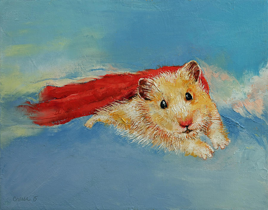 Art Painting - Hamster Superhero by Michael Creese