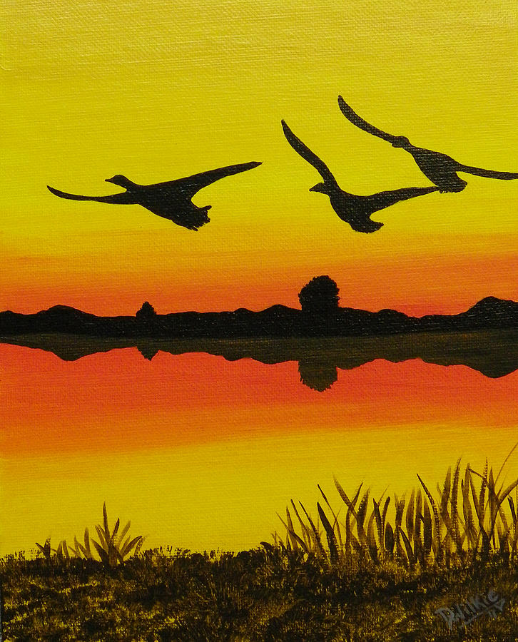 Canada Goose Painting - Flying Home by Doug Wilkie