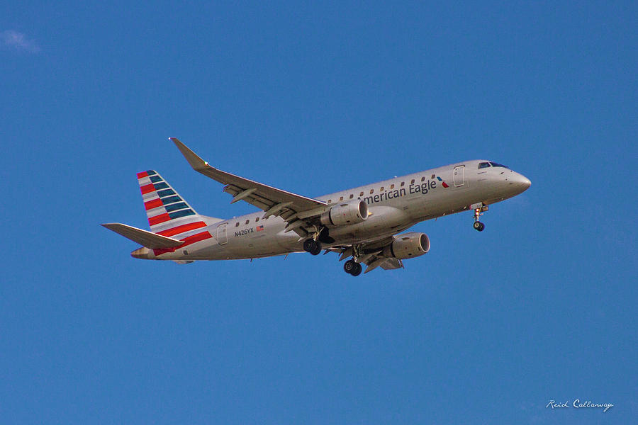 American Eagle Airlines Photograph - Flying In American Eagle Embraer 175 N426yx by Reid Callaway