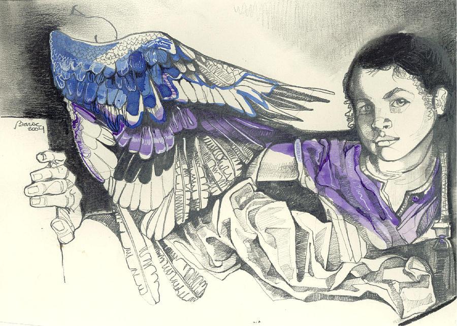 Flying Drawing by Lilian Barac